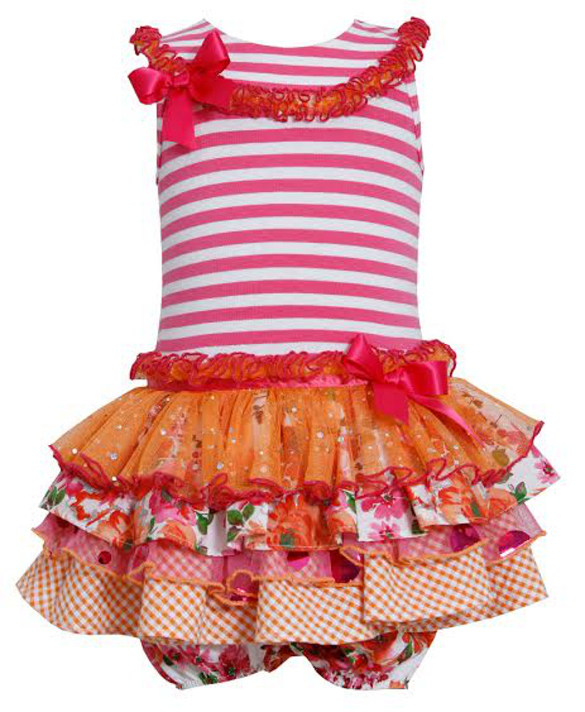 Bonnie Jean Baby Girls Ruffle Tutu Fuchsia Striped Dress 0-3 months