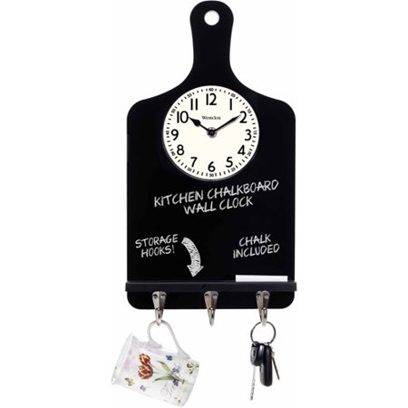 Westclox ChalkBoard Storage Hook Wall Clock