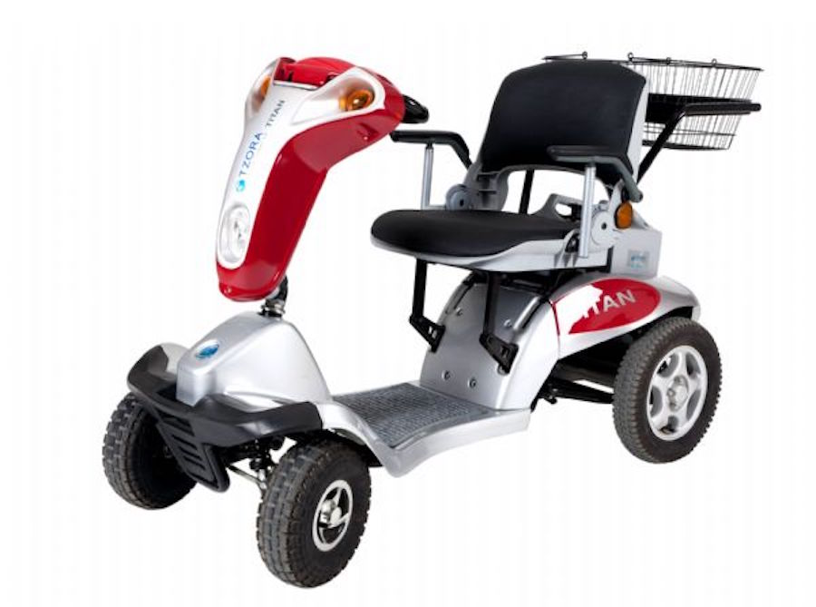 Tzora Hummer Titan 4-Wheel Electric Mobility Travel Large Scooter Red by