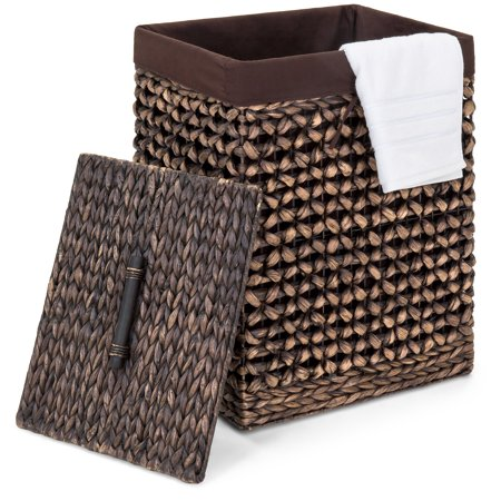 Best Choice Products Portable Decorative Woven Water Hyacinth Wicker Laundry Clothes Hamper Basket for Bedroom, Bathroom, Laundry Room w/ Removable Liner Bag, Lid - Espresso