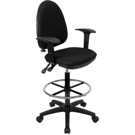 Mid-Back Black Fabric Adjustable Lumbar Ergonomic Draft Chair with Arms