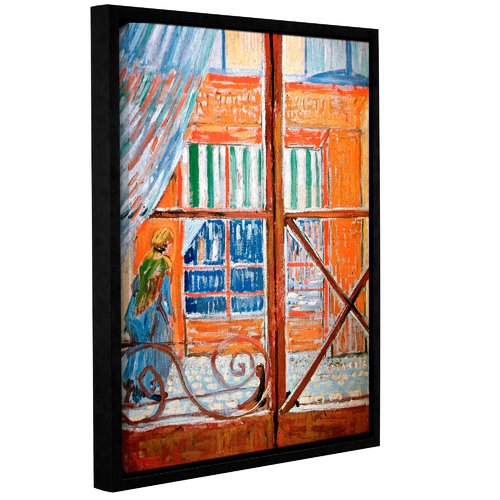 ArtWall Pork-Butchers Shop Through The Window by Vincent Van Gogh Framed Painting Print on Wrapped Canvas
