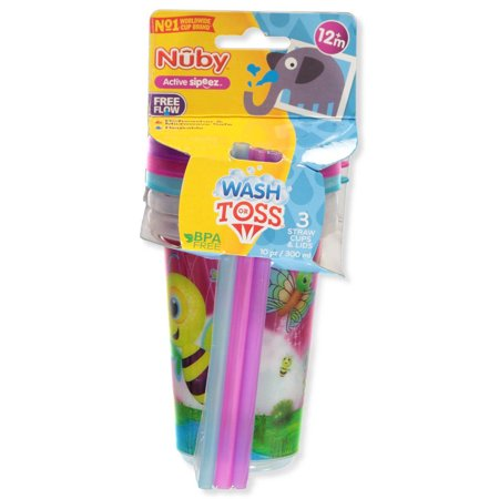 Nuby Wash (Nuby 3-Pack Wash or Toss Straw Cups (10)