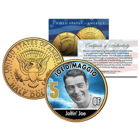 JOE DIMAGGIO ** Baseball Legends ** JFK Half Dollar 24K Gold Plated U.S. (Salada Baseball Coins)
