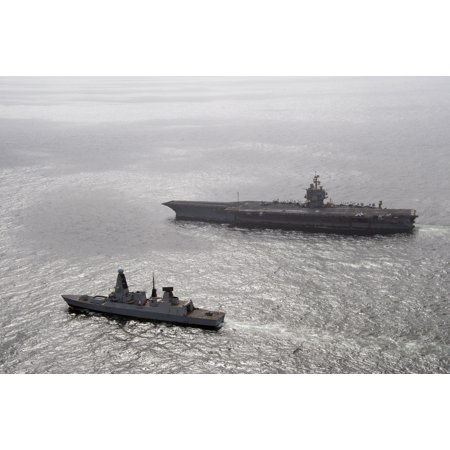 Uss Diamond (LAMINATED POSTER The British Royal navy destroyer HMS Diamond (D 34) maneuvers alongside the aircraft carrier USS Ent Poster Print 24 x 36)
