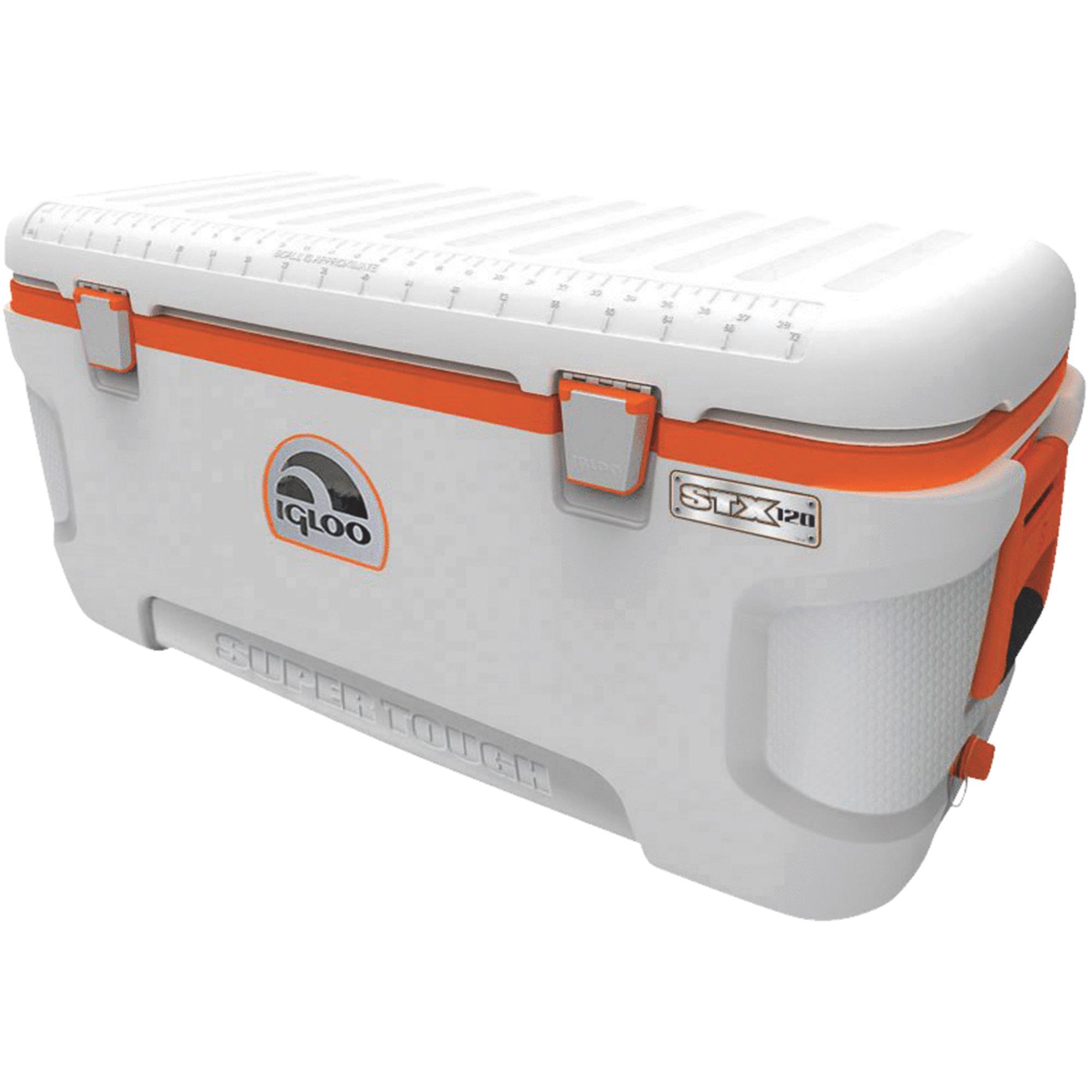 IGLOO 44807 Full Size Chest Cooler,120 qt,Wht/Org