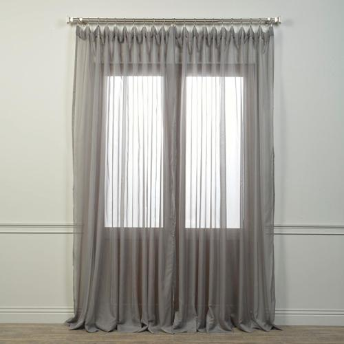 "Doublewide Solid Grey Voile Poly Sheer Curtain Panel Grey- 108""L"