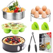 Instant Pot Accessories Set with Egg Rack, Steamer Basket, Silicone Brushes, Egg Molds, Tongs, and Ebook