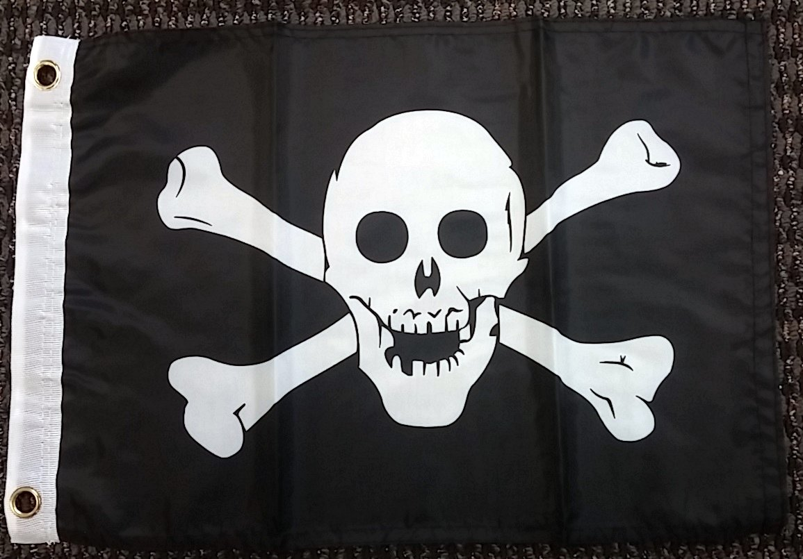 Click here to buy Pirate Jolly Roger Skull and Crossbones Polyester 12x18 Inch Boat Flag Banner by Home and Holiday Flags.