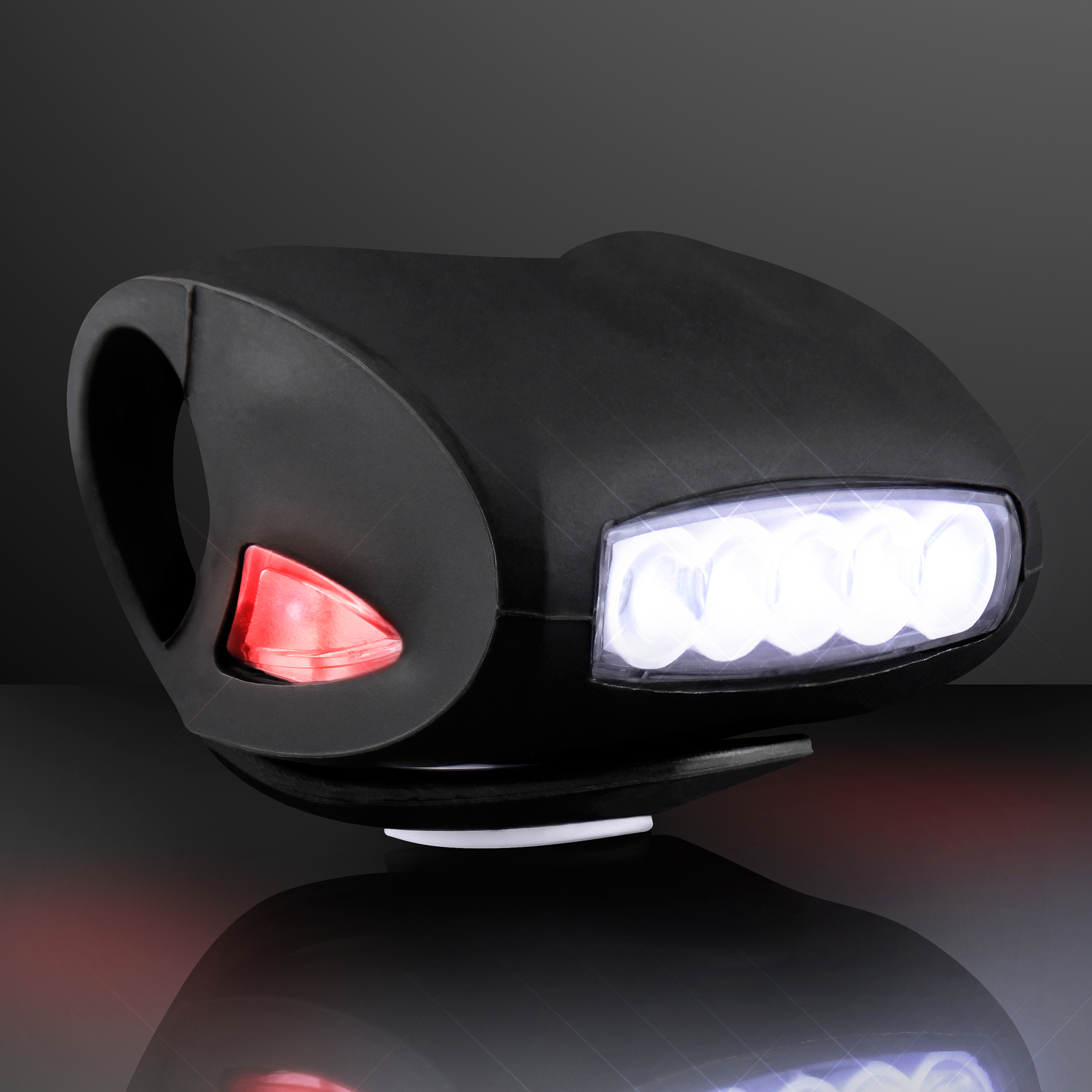 FlashingBlinkyLights Black Bicycle Headlight for Night Rides with White LED