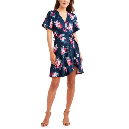 Flattering Floral Dress - Shira Pearla Women's Floral Wrap Front Dress