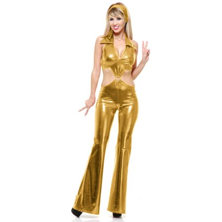Womens  Gold 70's Go Go Girl Disco Belly Mod Jumpsuit Costume Large 11-13 - 70s Jumpsuits