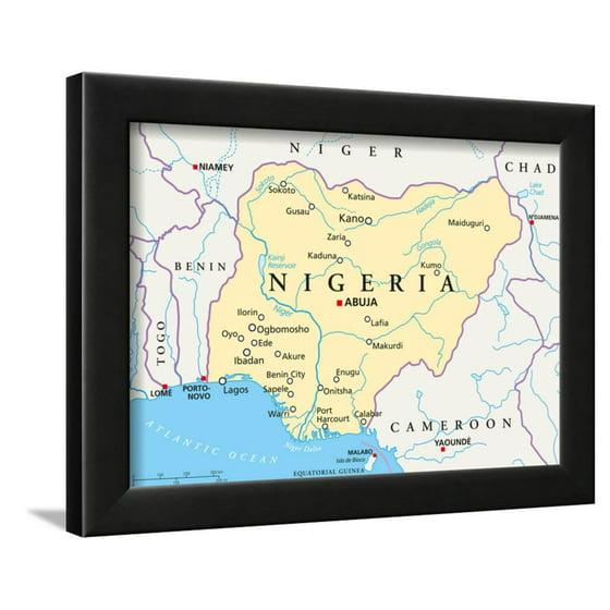 Nigeria Political Map Framed Print Wall Art By Peter Hermes Furian