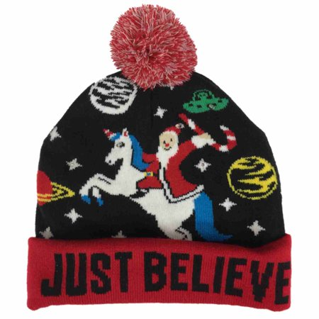 acad881f9046a mens light up just believe christmas beanie santa unicorn   space holiday  hat - Walmart.com