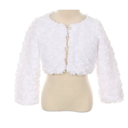 95c7f18c7fb BNY Corner - Cuddle fur bolero jacket pearl button Wedding Winter Match Flower  Girls Dress White 2-12 - Walmart.com
