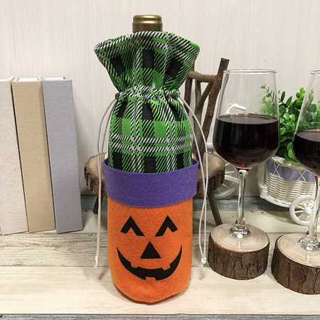 Halloween Non-Woven Wine Bottle Bag Pumpkin/Black Cat Candy Bag with Drawstring Closure Halloween Party Costumes Supplies Decorations--Pumpkin - Wine Bottle Covers Halloween
