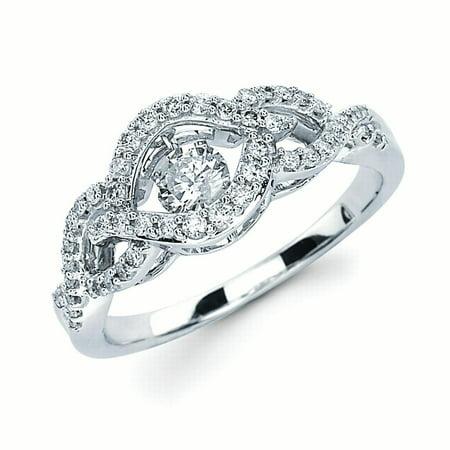 14K White Gold 1/2 Ctw. Diamond Wedding Engagement Ring (I color, I1 clarity)
