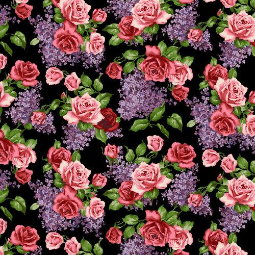 Marigold Jacobean Black/Orange Floral Rainbow Quilt Wall