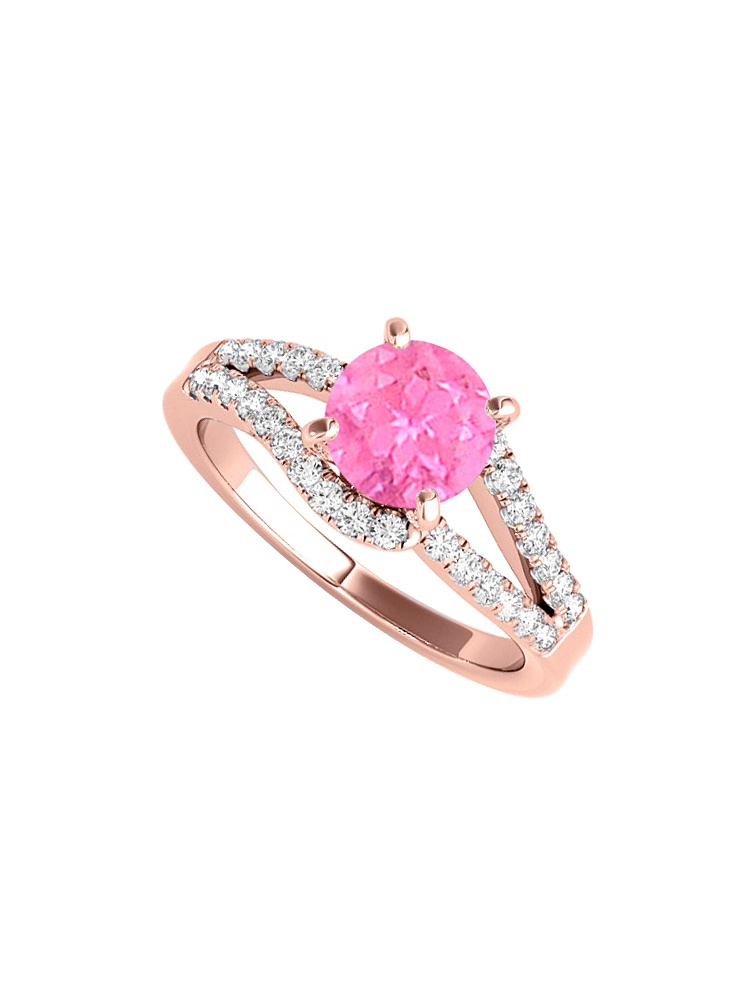 Prong Set Pink Sapphire Cubic Zirconia Engagement Ring in Rose Gold by Love Bright
