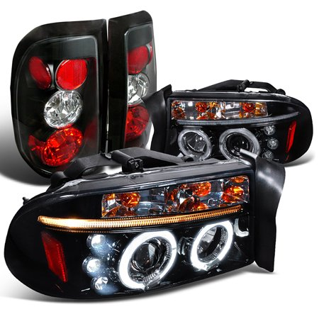 Spec-D Tuning 1997-2004 Dodge Dakota Glossy Black Led Halo Projector Headlights + Tail Lights (Left + Right) 97 98 00 01 02 03 04