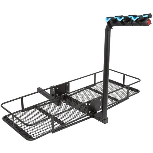 "3-Bicycle 60"" Folding Cargo Carrier Basket Rack Combo for 2"" Hitches"