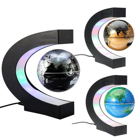 C Shape LED Earth Map Luminous Floating Globe Magnetic Levitation World Globe Tellurion Decor Educational Xmas Toy Gift - Christmas Float Supplies