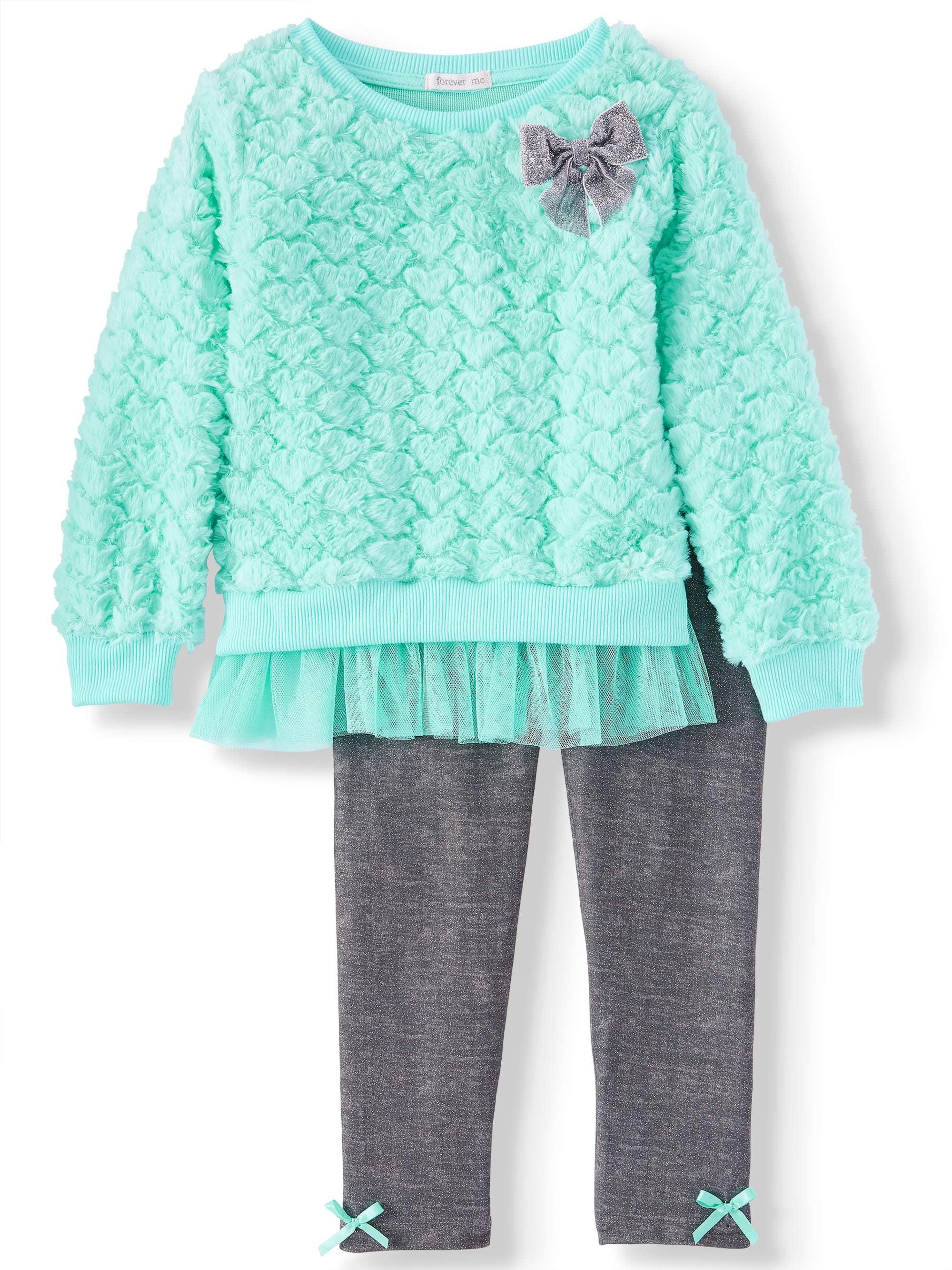 Embossed Plush Sweatshirt and Metallic Legging, 2-Piece Outfit Set (Little Girls)
