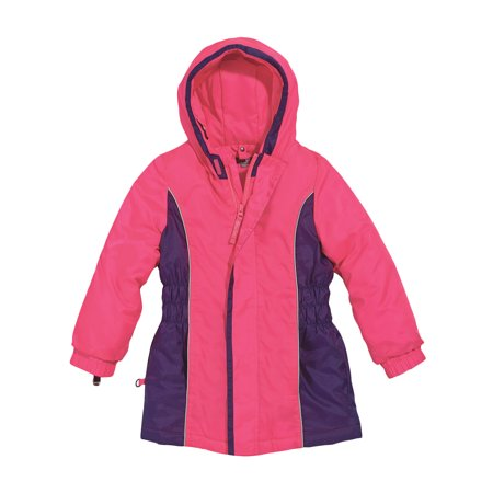 Cozy Cub Toddler Girl Winter Parka - Hot Pink and Purple with Grow-With-Me Sleeves - Waterproof Winter - Girls Pink Lady Jacket