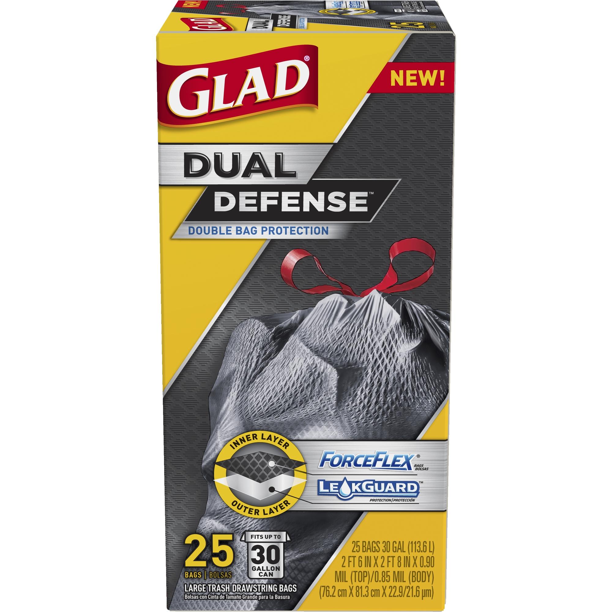Glad Dual Defense Drawstring Large Trash Bags, 30 Gallon, 25 Count