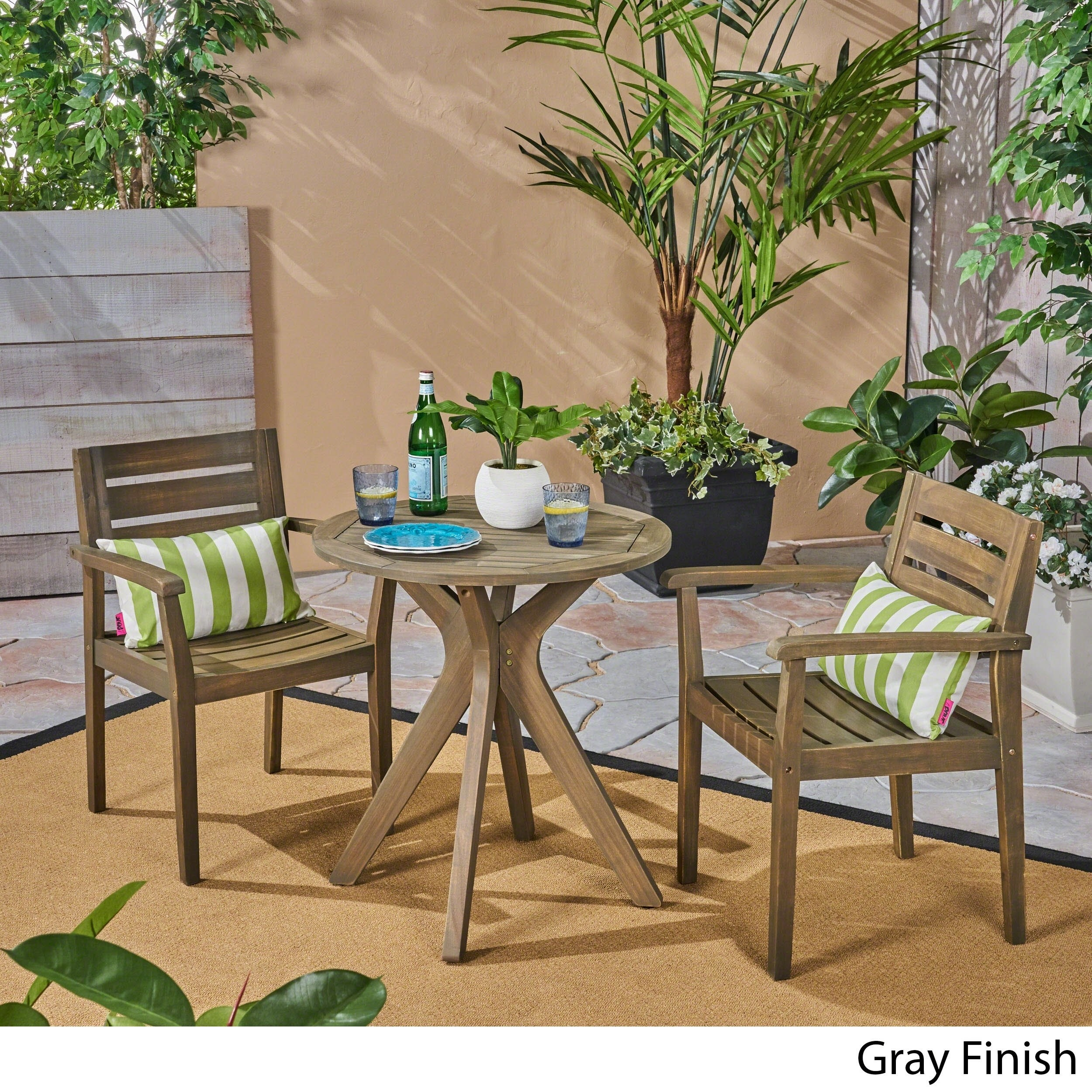 Christopher Knight Home Stamford Outdoor 5 Piece Acacia Wood Dining Set Wit Straight Legged Table By