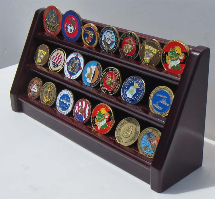 3 Rows Challenge Coin   Casino Chip Display Stand Rack Holder Stand, Mahogany Finish Coin18-MA by