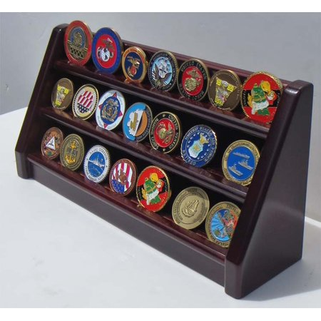 3 Rows Challenge Coin / Casino Chip Display Stand Rack Holder Stand, Mahogany Finish Coin18-MA Row Challenge Coin Rack