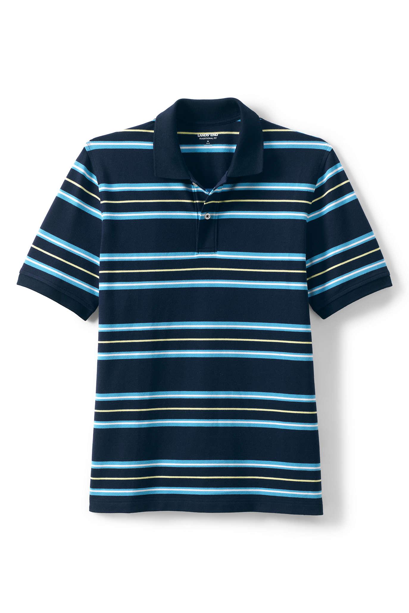 Men's Short Sleeve Mesh Stripe Polo