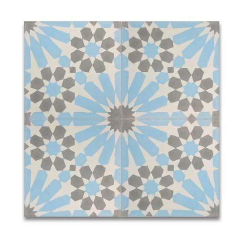 Moroccan Mosaic Agdal Blue and Grey Handmade Moroccan 8 x 8 inch Cement and Granite Floor or Wall Tile (Case of 12)
