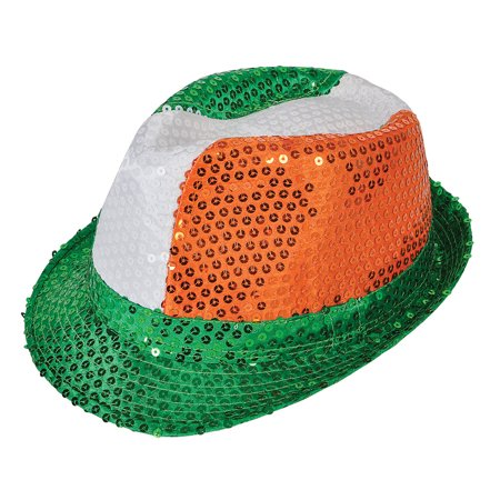 Rinco St. Patrick's Day Sequin Fedora, Green White Orange, One Size - Sequin Fedora