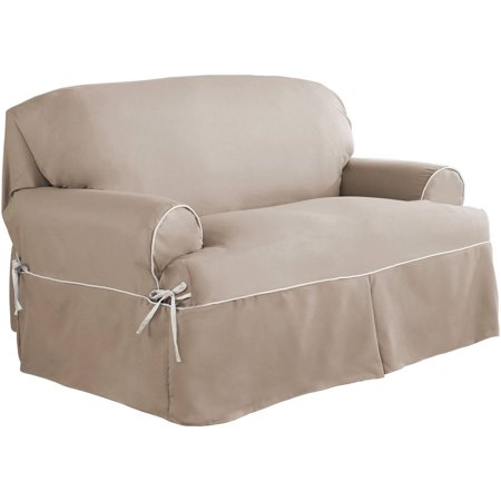 Serta Relaxed Fit Twill Furniture Slipcover Loveseat 1 Piece T Cushion