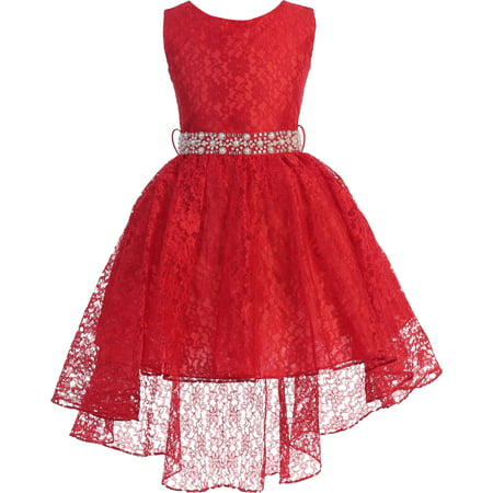 Little Girls Sleeveless Floral Lace Rhinestone High low Party Flower Girl Dress Red Size 4 (J37K44)