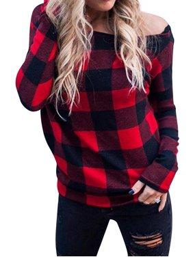 STARVNC Women Off Shoulder Plaid Pullover Long Sleeve Top Shirt