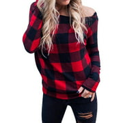STARVNC Women Off Shoulder Plaid Pullover Long Sleeve Top Shirt