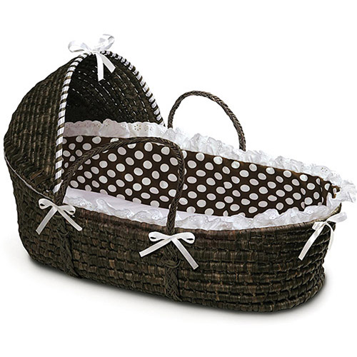 Badger Basket - Espresso Moses Basket with Hood and Brown Polka Dot Bedding