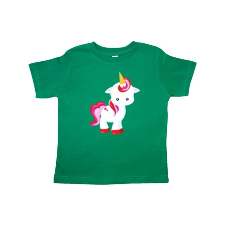 Cute Little Unicorn With Red And Pink Mane, Hearts Toddler T-Shirt