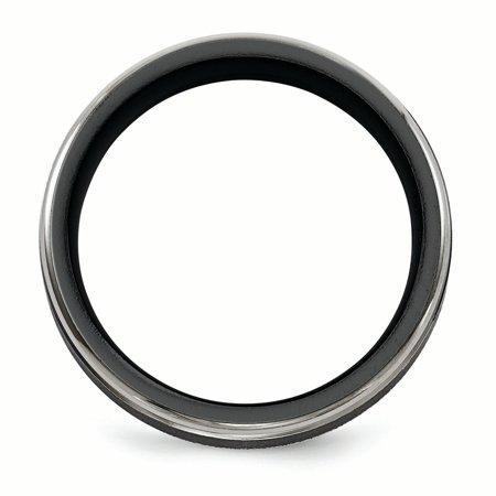 Edward Mirell Black TI -Traction Finish w/Polished Edge6.5mm Band Size 9 - image 1 de 4
