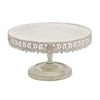 """Decmode - Antique White Metal Cake Stand with Decorative Trim, 16"""" x 9"""""""