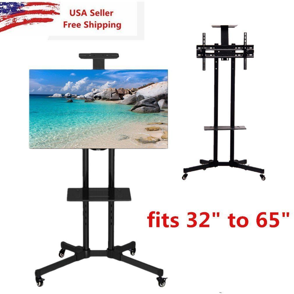 "2017 New Adjustable Floor Stand for TV 32"" to 65"" TV Rack Stand Mounted Shelving Unit for TVs with Wheels"