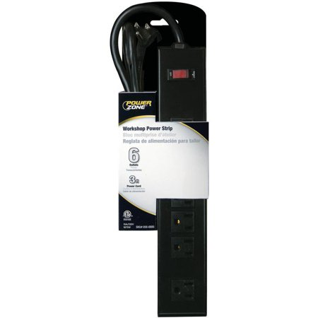 PowerZone Power Outlet Strip 125 V 15 A 6 Outlet Almond Black