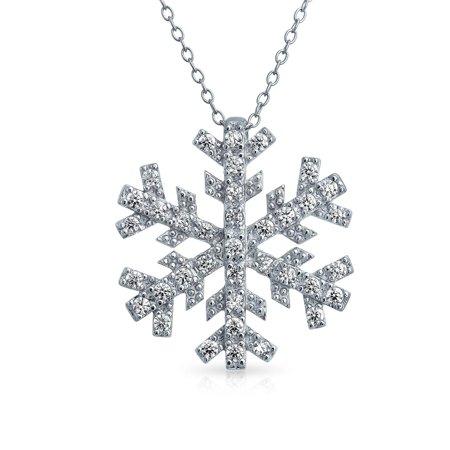 Rhodium Snowflake Pendant - CZ Snowflake Pendant Rhodium Plated Necklace 16 Inches