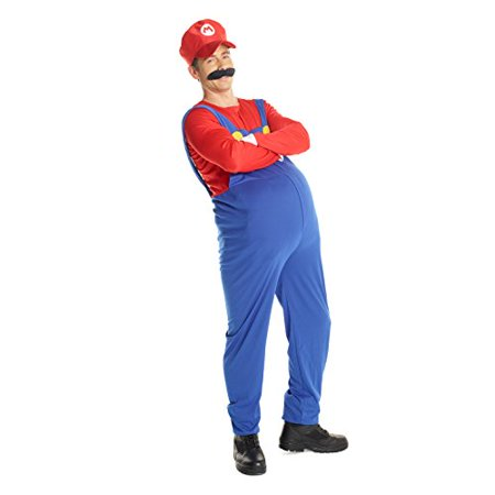 80's Outfits For Halloween (Adult Super Mario Costume, 80's Plumber Gaming Outfit Size Plus 46-48