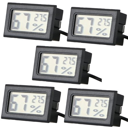 5-pack Digital LCD Humidor Cigar Hygrometer Thermometer Temperature Round ()