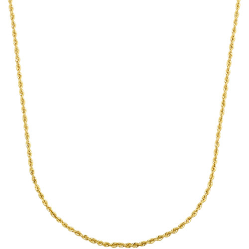Simply Gold 14kt Yellow Gold 1.28mm Classic Solid Rope Chain