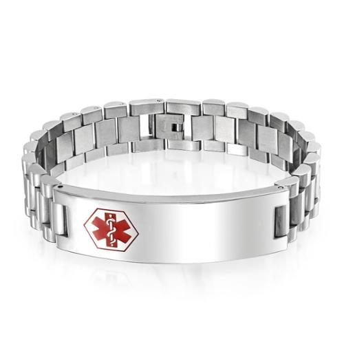 Bling Jewelry Gift Mens Stainless Steel Medical ID Tag Identification Bracelet 8.5in
